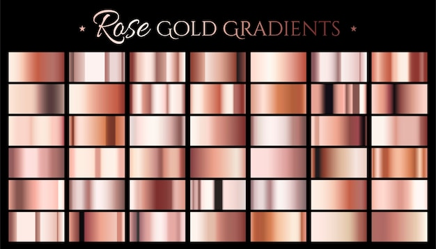 Rose gold color gradient, set of abstract metallic