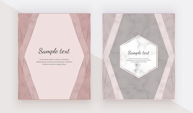 Rose gold design cards with polygonal lines frames.