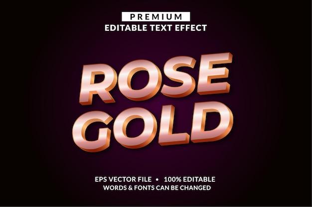 Розовое золото, стиль шрифта с редактируемым текстовым эффектом