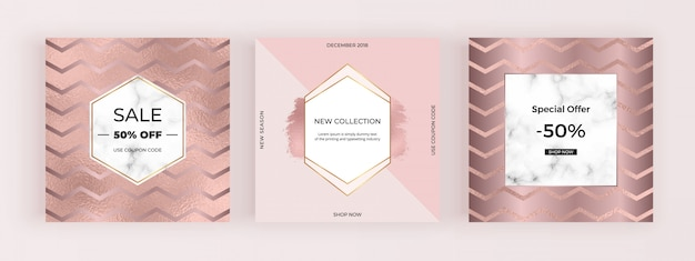 Rose gold fashion promotion social media banners
