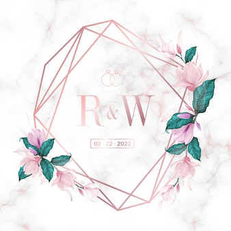 Rose gold geometric frame with floral on marble background for wedding monogram logo and invitation card