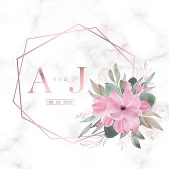 Cornice geometrica in oro rosa con fiori su marmo per logo monogramma di nozze e carta di invito