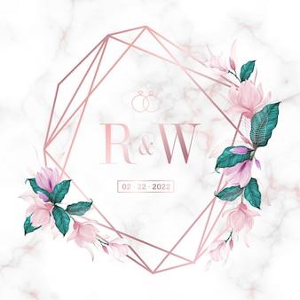 결혼식 모노그램 로고 및 초대 카드 대리석 배경에 꽃과 로즈 골드 기하학적 프레임