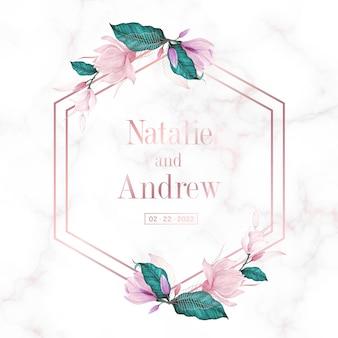 웨딩 모노그램 로고 및 초대 카드에 대한 대리석 배경에 꽃과 로즈 골드 기하학적 프레임