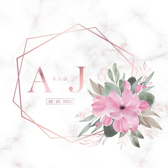 웨딩 모노그램 로고 및 초대장을위한 대리석에 꽃이있는 로즈 골드 기하학적 프레임