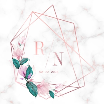 Rose gold geometric frame with flower on marble background for wedding monogram logo and invitation card
