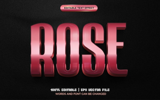 Rose gold glossy 3d editable text effect style template