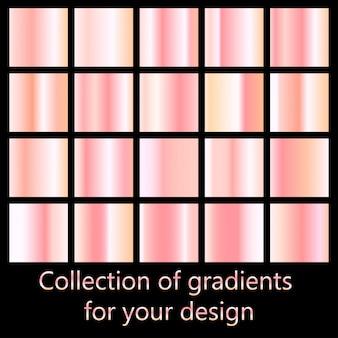 ローズゴールドグラデーションコレクション。ピンクのグラデーションのコレクション