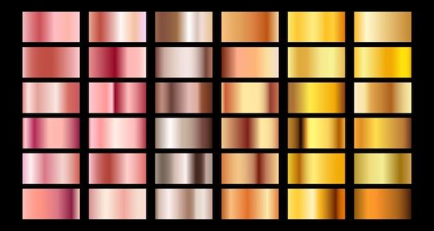 Rose gold gradient collection vector design texture. golden bronze metal gradient
