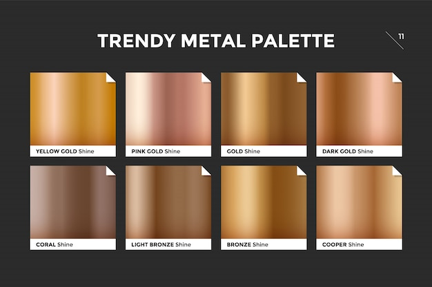 Rose gold gradient metal palette effect