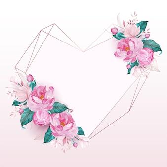 청첩장에 대 한 수채화 스타일의 핑크 꽃으로 장식 된 로즈 골드 하트 프레임