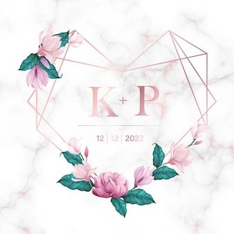 결혼식 모노그램 로고 및 초대 카드 대리석 배경에 꽃과 로즈 골드 하트 프레임