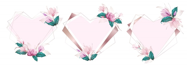 Rose gold heart geometric frame decorated with pink flower in watercolor style