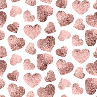 Rose gold hearts seamless pattern