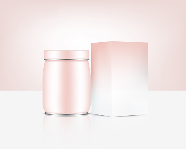 Бутылка из розового золота в банке, реалистичная косметика или еда и напитки