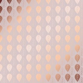 ローズゴールドリーフのパターンの背景