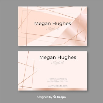 Rose gold lines business card