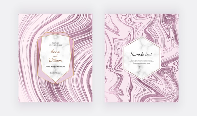Rose gold liquid marble design cards. ink painting glitter abstract pattern