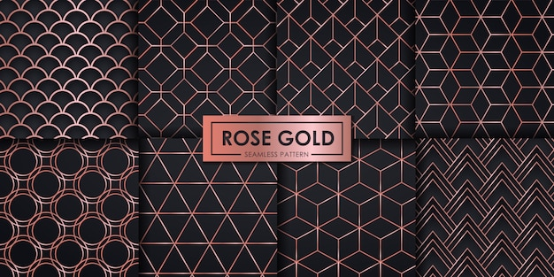 Rose gold luxury geometric seamless pattern set