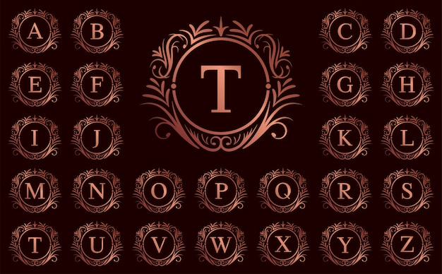 Rose gold luxury letter a to z on red background