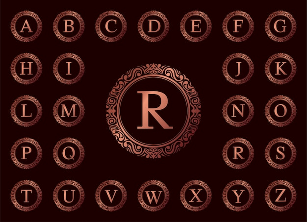 Rose gold luxury letter a to z on red
