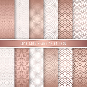 Rose gold luxury pattern seamless collection.