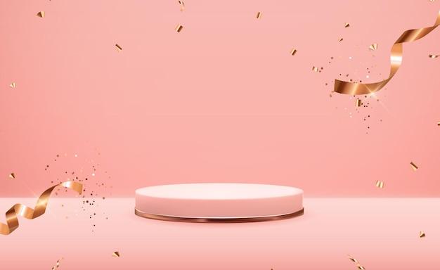 Постамент из розового золота поверх розовой пастели с золотой лентой конфетти