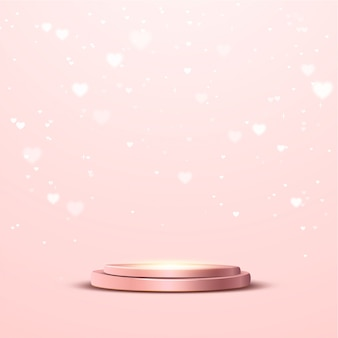 Rose gold podium with a spotlight and heart bokeh lights