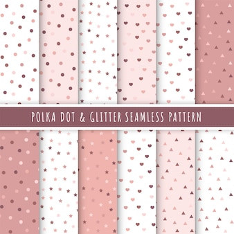 Rose gold polka dot and glitter seamless pattern collection.