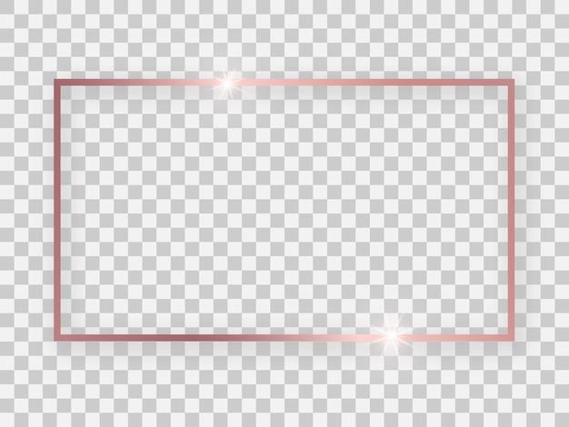 透明な背景に輝く効果と影のあるローズゴールドの光沢のある16x9の長方形のフレーム。ベクトルイラスト