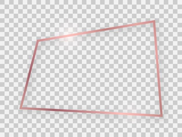 Блестящая прямоугольная рамка из розового золота со светящимися эффектами и тенями на прозрачном фоне. векторная иллюстрация