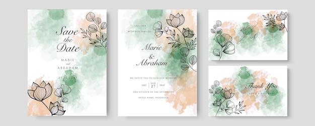 Шаблон свадебного приглашения акварель розового золота с золотым цветочным декором. абстрактный фон сохранить дату, приглашение, поздравительную открытку, многоцелевой вектор