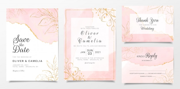 Rose gold watercolor wedding invitation card template set with golden floral decoration