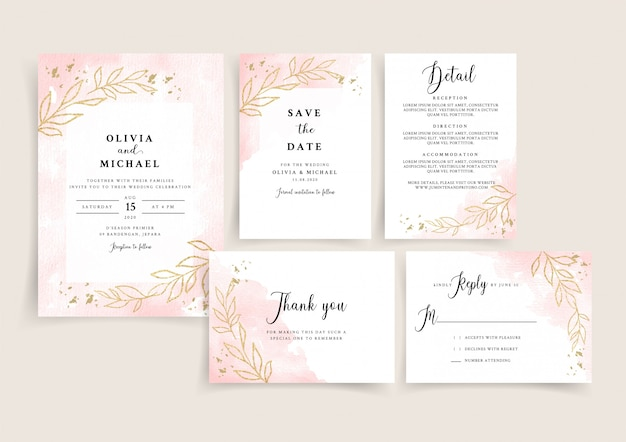 Rose gold watercolor wedding invitation card template set with golden floral