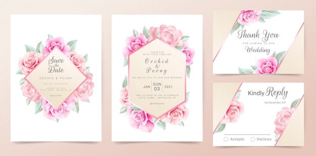 Rose gold wedding invitation card template set with watercolor flowers frame