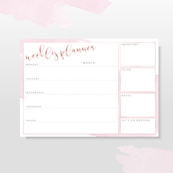 Rose gold weekly planner with pink blush brush strokes
