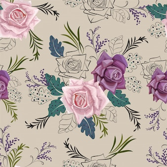 Rose and graphic flower seamless pattern