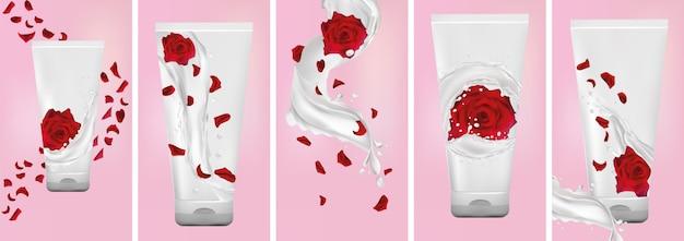 Крем для рук роза, всплеск молока с цветком розы. установить дизайн упаковки крема. летающая роза, лепестки и брызги йогурта