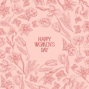 Поздравительная открытка счастливого женского дня с множеством цветов справа от красного текста с поздравлениями, векторная иллюстрация