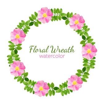 Цветы и листья шиповника круглая рамка, акварельный цветочный венок