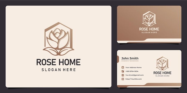 Rose and home combine logo design and business card