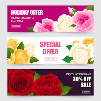 Rose horizontal banners set with special offer symbols realistic isolated