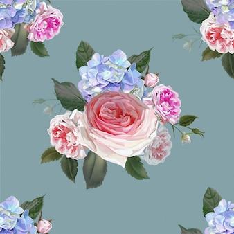 Rose and hydrangea seamless pattern