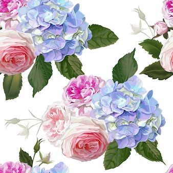 Rose and hydrangea seamless pattern