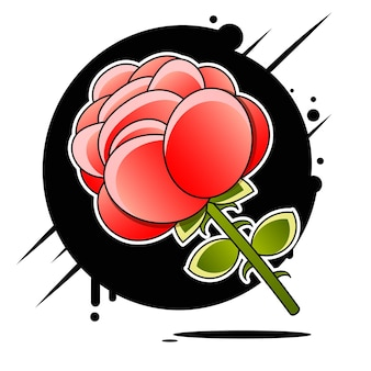 Роза значок складе иллюстрация на фоне. для дизайна, украшения, логотипа.