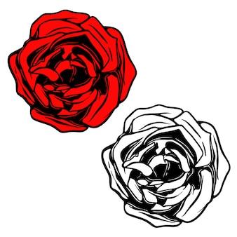 문신 스타일의 장미 그림입니다. 로고, 라벨, 엠 블 럼, 사인, 배너, 포스터 요소. 삽화