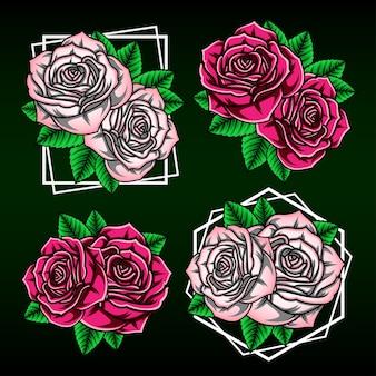 さまざまなスタイルと色のバラのイラスト。