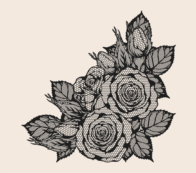 Rose lace ornament vector by hand drawing