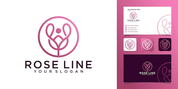 Rose line logo with circle outline design template and business card
