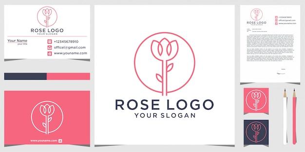 文房具とバラのロゴデザイン